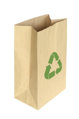 recycle bag: Paper bag isolated on white background Stock Photo