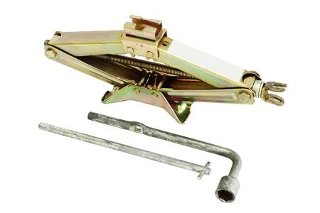 screw jack: Mechanical jack isolated on white background Stock Photo