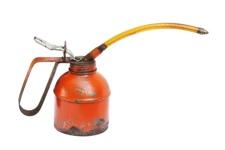 Old oil can isolated on white background Stock Photo - 11784286