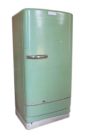 refrigerator: Vintage refrigerator isolated on white background