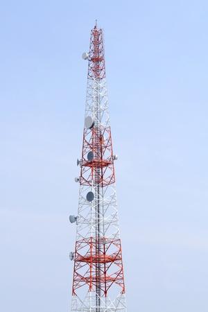 Mobile phone mast antenna on blue sky background Stock Photo - 12155520