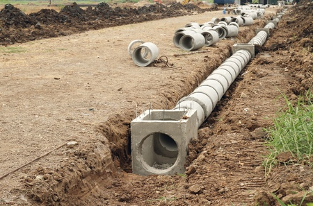 sewer pipe: Concrete drainage tank on construction site