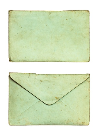 Old envelope isolated on white background