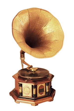 phonograph: Retro gramophone isolated on white background