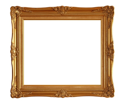 golden frame: Picture frame isolated on white background