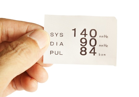 Hand hold report paper from blood pressure measure photo