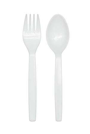 Plastic spoon and fork isolated on white background