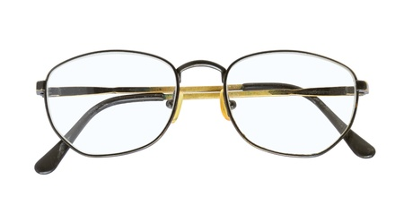protecting spectacles: Old eyeglasses isolated on white background