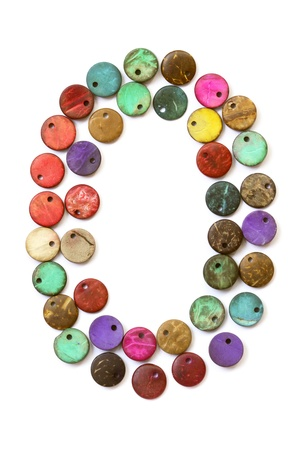Number 0 from colorful beads  Stock Photo