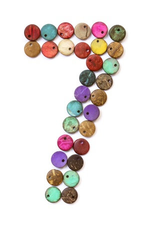 Number 7 from colorful beads  photo