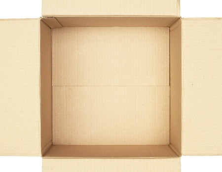 Top view of carton box isolated on white background Stock Photo - 13429926