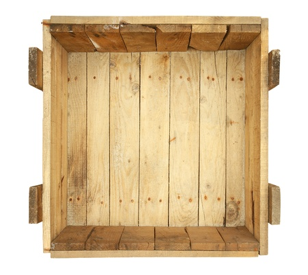 Top view of old wooden box isolated on white background photo