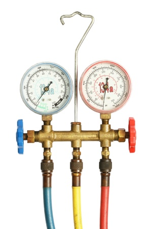 condition: Refrigerator pressure gauges isolated on a white background  Stock Photo