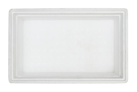 styrofoam: Top view of styrofoam box isolated on white background