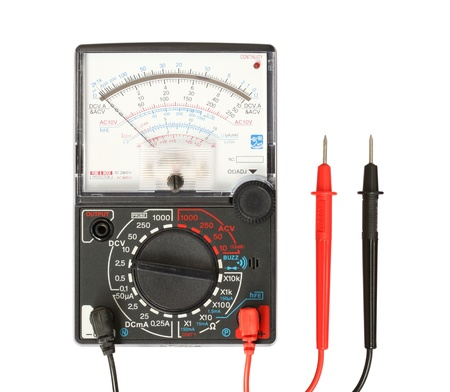 ohm: Multimeter with probe isolated on white background Stock Photo