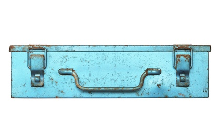 Front view of old metal box isolated on white background photo
