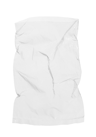 Transparent plastic bag isolated on white background Stock Photo