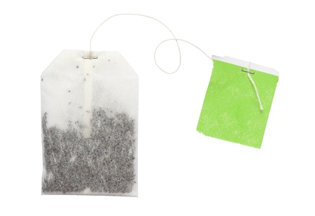 Tea bag isolated on white background photo