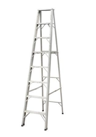 metallic stairs: Aluminium stepladder isolated on white background