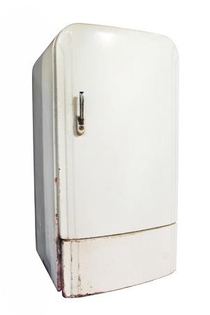 frigo: Vintage koelkast op een witte achtergrond Stockfoto