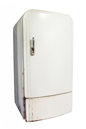 Vintage refrigerator isolated on white background photo