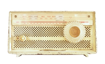 Retro radio isolated on white background photo