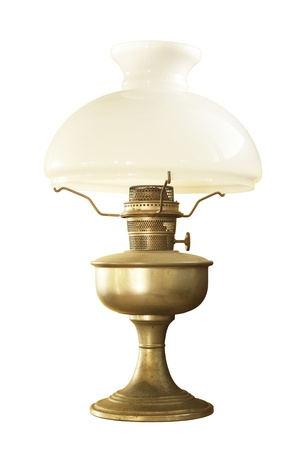 Antique table lamp isolated on white background photo