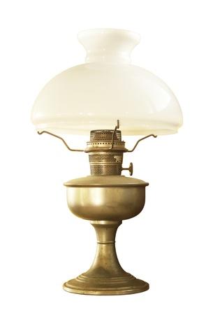 an oil lamp: Lámpara de mesa antigua aisladas sobre fondo blanco