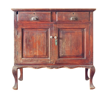 Old wooden cabinet isolated on white background 스톡 콘텐츠