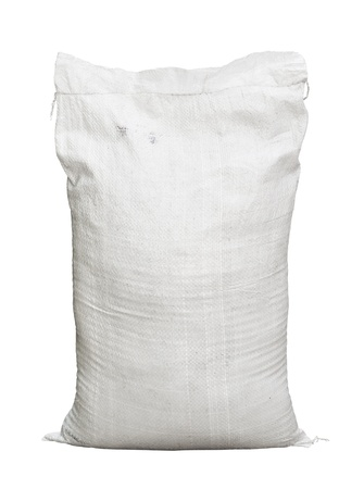 White canvas sack with full fertilizer isolated on white background