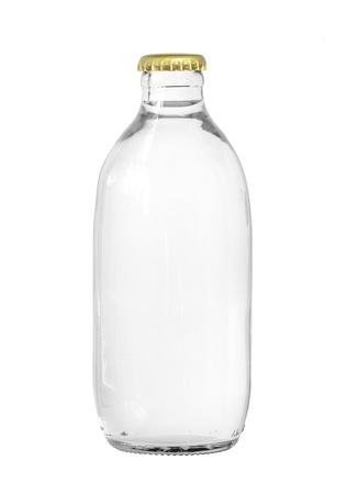 Glas Flasche Sprudelwasser auf weißem Hintergrund Standard-Bild - 14019487