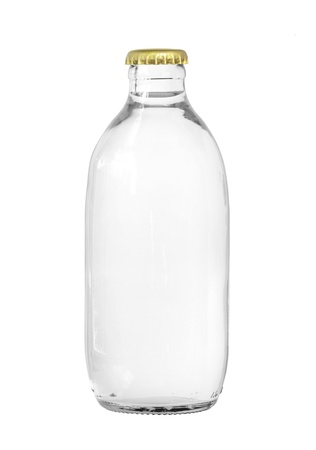 Glass bottle of soda water isolated on white background