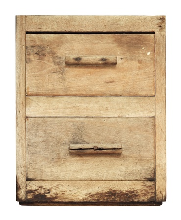 Vintage wooden cabinet drawer isolated on white background Stock Photo - 14120707