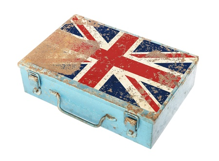 Rusty metal box with England flag on lid isolated on white background photo