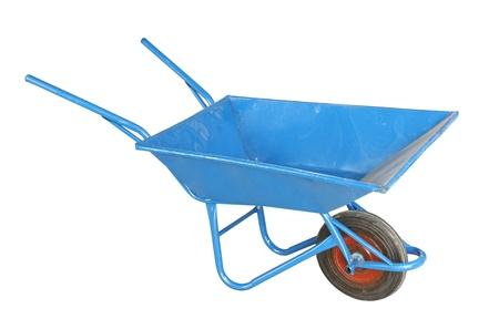 Blue wheelbarrow isolated on white background photo