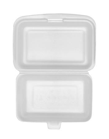 food waste: Top view of styrofoam box isolated on white background