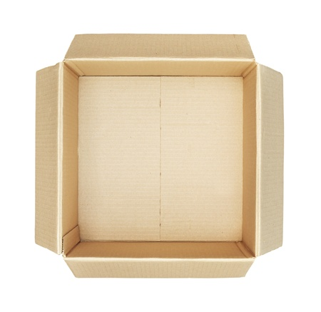 corrugated cardboard: Top view of carton box isolated on white background