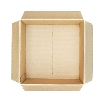 cajas de carton: Vista superior de la caja de cart�n aisladas sobre fondo blanco