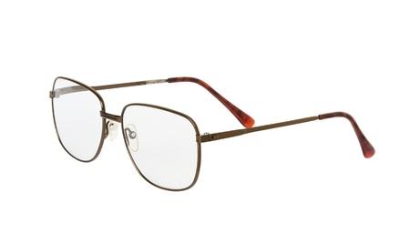 protecting spectacles: Used eyeglasses isolated on white background