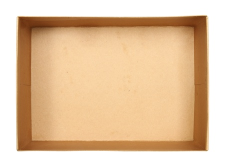 Top view of carton box isolated on white background photo
