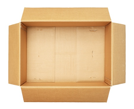 order shipping: Top view of carton box isolated on white background Stock Photo
