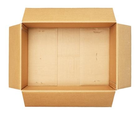 carton: Vista superior de la caja de cartón aislada en el fondo blanco