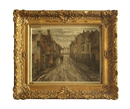 UNKNOWN - CIRCA 1930 : Vintage picture of painting landscape in classic picture frame