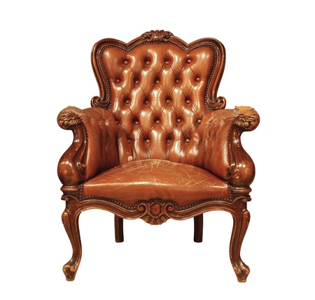 antique chair: Brown luxury leather armchair isolated on white background Stock Photo