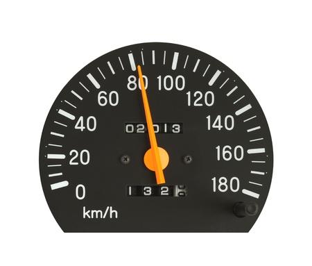 compteur de vitesse: Compteur de vitesse isolé sur fond blanc Banque d'images