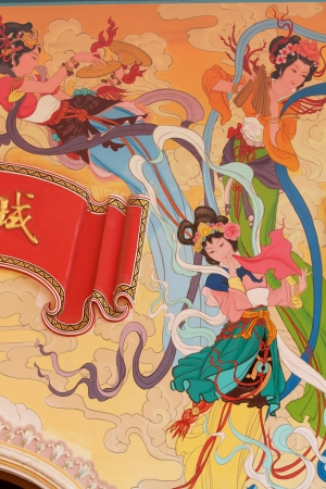 wall mural: Chinese art painting on the wall of Chinese temple, Najasaataichue Chinese temple, Chonburi province, Thailand Editorial