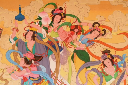 china art: Chinese art painting on the wall of Chinese temple, Najasaataichue Chinese temple, Chonburi province, Thailand Editorial
