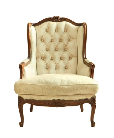 antique chair: White luxury leather armchair isolated on white background Stock Photo