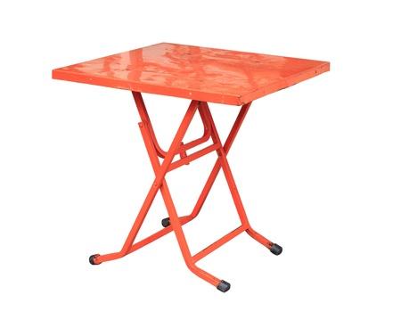 Vintage folding table isolated on white background photo
