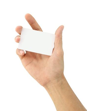Männliche Hand zeigen leere Karte isoliert auf weißem Hintergrund Standard-Bild - 15780179
